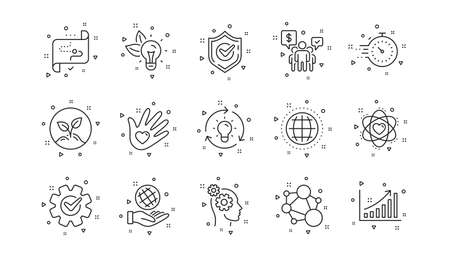 Integrity, Target purpose and Strategy. Core values line icons. Helping hand, social responsibility, commitment goal icons. Linear set. Geometric elements. Quality signs set. Vector