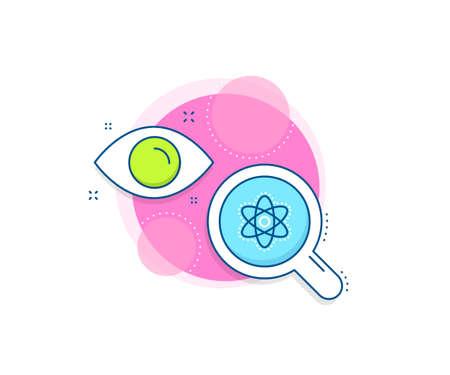 Laboratory molecule sign. Research complex icon. Chemistry atom line icon. Analysis symbol. Analytics or analysis banner. Chemistry atom sign. Vector