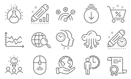 Set of Technology icons, such as Chemistry experiment, Swipe up. Diploma, ideas, save planet. Time management, Cloud storage, Diagram chart. Scroll down, Waiting, Correct answer. Vector