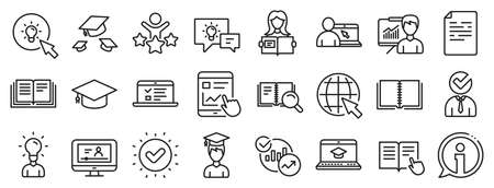 Laptop, Book and Video Tutorial icons. Education line icons. Graduation cap, Instructions and Presentation. College education or Lectures book, Charts and Idea. Laptop, video tutorial. Vector Illustration