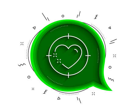 Heart target line icon. Chat bubble with shadow. Love emotion aim sign. Valentine day symbol. Thin line heart target icon. Vector