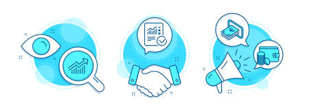 Payment method, Demand curve and Cash line icons set. Handshake deal, research and promotion complex icons. Checked calculation sign. Wallet with coins, Statistical report, Atm payment. Vector Illusztráció