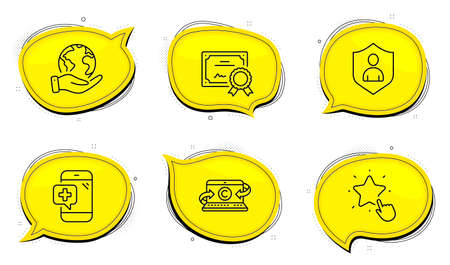 Ranking star sign. Diploma certificate, save planet chat bubbles. Security, Medical phone and Copywriting notebook line icons set. Private protection, Mobile medicine, Writer laptop. Vector