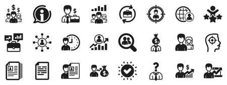 Business networking contract, Job Interview and Head Hunting contract icons. Human Resources, head hunting icons. CV, Teamwork and Portfolio symbols. Business career, human, interview. Vector Illustration