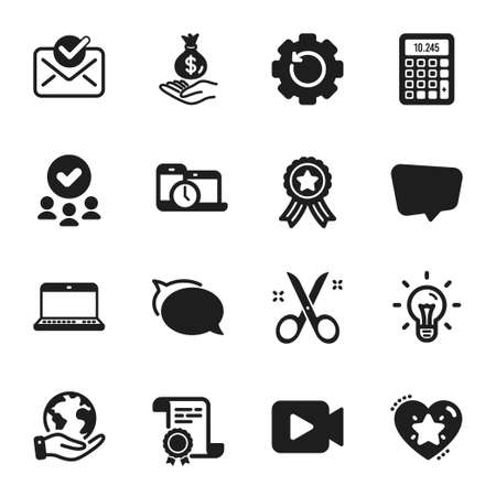 Set of Education icons, such as Talk bubble, Recovery gear. Certificate, approved group, save planet. Calculator, Ranking star, Scissors. Chat message, Income money, Approved mail. Vector Illusztráció
