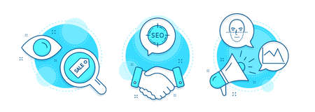 Sale ticket, Line chart and Face recognition line icons set. Handshake deal, research and promotion complex icons. Seo sign. Discount coupon, Financial graph, Faces biometrics. Search target. Vector