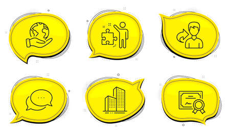 Strategy sign. Diploma certificate, save planet chat bubbles. Share, Dots message and Skyscraper buildings line icons set. Male user, Chat bubble, Town architecture. Business plan. Vector