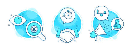 Ferris wheel, Woman read and Balance line icons set. Handshake deal, research and promotion complex icons. Timer sign. Attraction park, Girl studying, Concentration. Deadline management. Vector Vector Illustratie