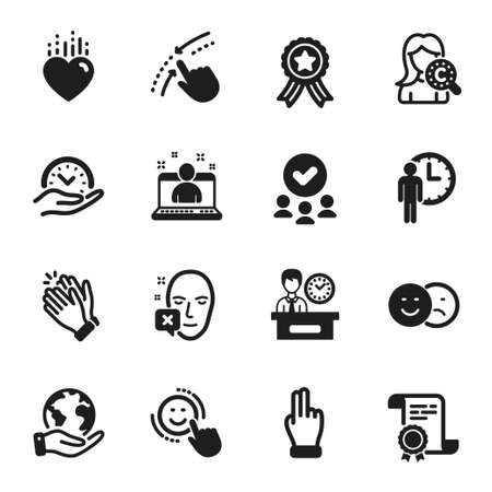 Set of People icons, such as Best manager, Heart. Certificate, approved group, save planet. Waiting, Smile, Face declined. Presentation time, Clapping hands, Safe time. Vector Vettoriali