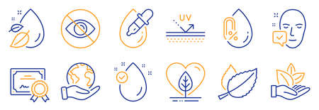 Set of Healthcare icons, such as Local grown, Face accepted. Certificate, save planet. Uv protection, Not looking, Mint leaves. Organic product, Water drop, No alcohol. Vector