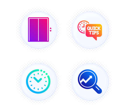 Quick tips, Time management and Lift icons simple set. Button with halftone dots. Analytics sign. Helpful tricks, Office clock, Elevator. Audit analysis. Technology set. Vector