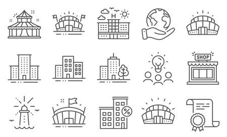 Set of Buildings icons, such as Lighthouse, University campus. Diploma, ideas, save planet. Arena stadium, Arena, Skyscraper building. Sports stadium, Hotel, Circus. Vector
