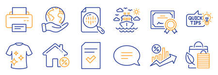 Set of Business icons, such as Chat, Analytics chart. Certificate, save planet. Bio shopping, Clean t-shirt, Loan percent. Printer, Education idea, Ship travel. Vector Illustration