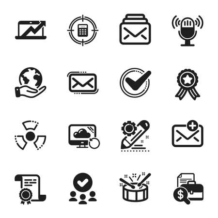 Set of Education icons, such as Messenger mail, Accounting report. Certificate, approved group, save planet. Chemical hazard, Mail, Recovery cloud. Drums, Calculator target, Microphone. Vector