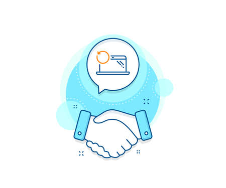 Backup data sign. Handshake deal complex icon. Recovery laptop line icon. Restore smartphone information symbol. Agreement shaking hands banner. Recovery laptop sign. Vector