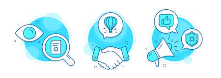 Air balloon, Like and Delete file line icons set. Handshake deal, research and promotion complex icons. Reject protection sign. Flight travel, Thumbs up, Remove document. No security. Vector
