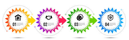 Handshake, Settings gears and Parking icons simple set. Timeline steps infographic. Copyright protection sign. Deal hand, Technology process, Garage. Shield. Business set. Vector