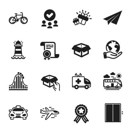 Set of Transportation icons, such as Bus travel, Open box. Certificate, approved group, save planet. Taxi, Airplane, Gift. Hold box, Lift, Roller coaster. Vector