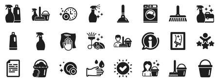 Laundry, Sponge and Vacuum cleaner signs. Cleaning icons. Washing machine, Housekeeping service and Maid equipment symbols. Window cleaning and Wipe off. Approved check, document. Vector Vecteurs