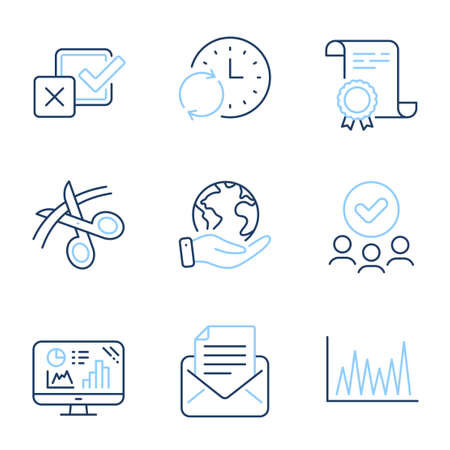Mail correspondence, Analytics graph and Line graph line icons set. Diploma certificate, save planet, group of people. Checkbox, Scissors and Update time signs. Vector Illusztráció