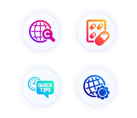 International Ð¡opyright, Capsule pill and Quick tips icons simple set. Button with halftone dots. World copywriting, Medicine drugs. Science set. Gradient flat international Ð¡opyright icon. Vector