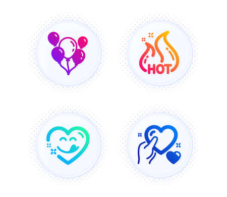 Yummy smile, Balloons and Hot sale icons simple set. Button with halftone dots. Hold heart sign. Comic heart, Air balloons, Shopping flame. Care love. Holidays set. Vector