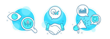Recovery data, Full rotation and Bar diagram line icons set. Handshake deal, research and promotion complex icons. Fair trade sign. Backup info, 360 degree, Statistics infochart. Safe nature. Vector