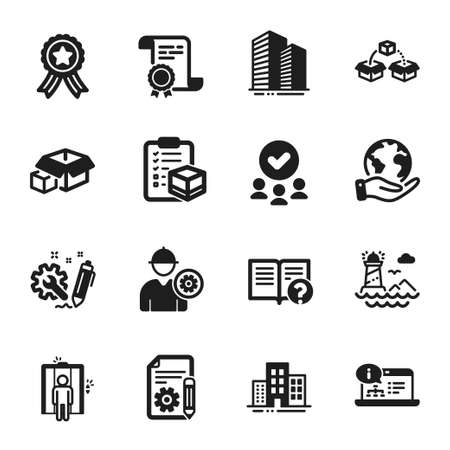 Set of Industrial icons, such as Engineer, Online documentation. Certificate, approved group, save planet. Buildings, Parcel checklist, Lighthouse. Packing boxes, Elevator, Engineering. Vector