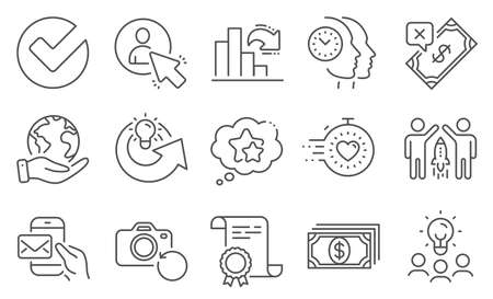 Set of Education icons, such as Time management, Recovery photo. Diploma, ideas, save planet. Messenger mail, Share idea, Decreasing graph. User, Payment, Ranking stars. Vector