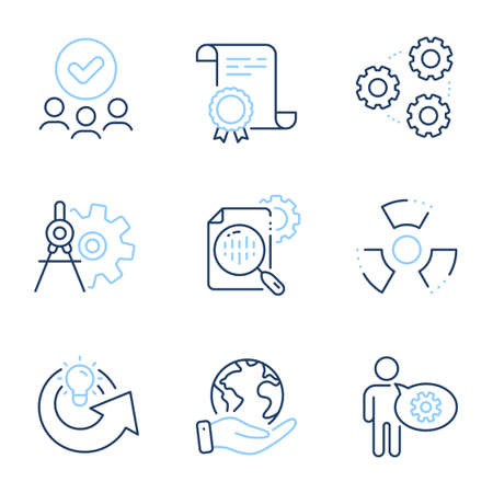 Cogwheel, Share idea and Seo stats line icons set. Diploma certificate, save planet, group of people. Chemical hazard, Cogwheel dividers and Gears signs. Engineering tool, Solution, Toxic. Vector