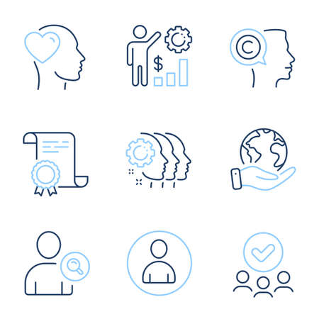 Friend, Avatar and Writer line icons set. Diploma certificate, save planet, group of people. Employees wealth, Find user and Employees teamwork signs. Love, User profile, Copyrighter. Vector 일러스트