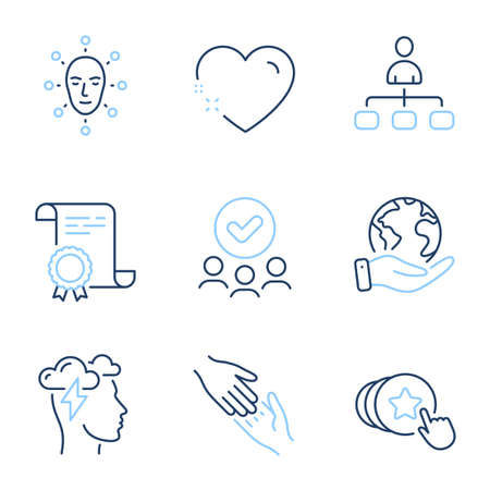 Mindfulness stress, Hold heart and Management line icons set. Diploma certificate, save planet, group of people. Helping hand, Face biometrics and Heart signs. Cloud storm, Love brand, Agent. Vector