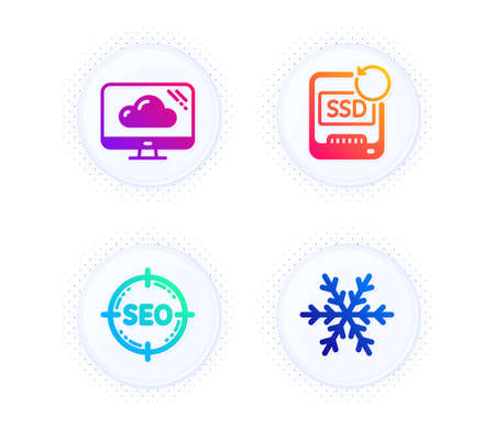 Cloud storage, Seo and Recovery ssd icons simple set. Button with halftone dots. Air conditioning sign. Computer, Search target, Backup info. Snowflake. Technology set. Vector