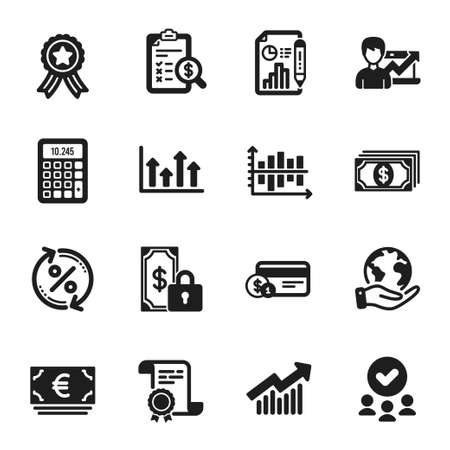 Set of Finance icons, such as Euro currency, Diagram chart. Certificate, approved group, save planet. Loan percent, Private payment, Calculator. Payment method, Demand curve, Upper arrows. Vector