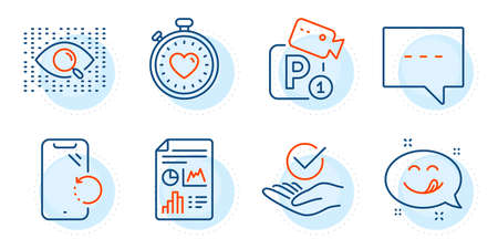 Report document, Heartbeat timer and Yummy smile signs. Approved, Blog and Parking security line icons set. Artificial intelligence, Smartphone recovery symbols. Outline icons set. Vector