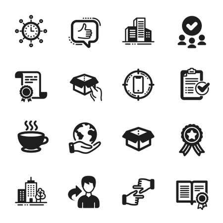 Set of Business icons, such as Like, Diploma. Certificate, approved group, save planet. World time, Open box, Buildings. Hold box, Share, Smartphone target. Vector