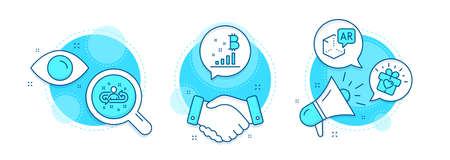 Bitcoin graph, Love gift and Recruitment line icons set. Handshake deal, research and promotion complex icons. Augmented reality sign. Cryptocurrency analytics, Heart present, Manager change. Vector Vectores