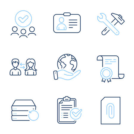Survey checklist, People communication and Recovery server line icons set. Diploma certificate, save planet, group of people. Attachment, Spanner tool and Id card signs. Vector