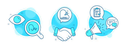 Breathing exercise, Employees messenger and Approved checklist line icons set. Handshake deal, research and promotion complex icons. Piano sign. Breath, Speech bubble, Accepted message. Vector 일러스트