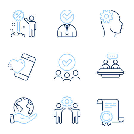 Employees talk, Vacancy and Discount line icons set. Diploma certificate, save planet, group of people. Engineering, Employees teamwork and Heart signs. Vector Vectores