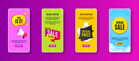 Weekend sale 50% off badge. Phone screen banner. Discount banner shape. Hot offer icon. Sale banner on smartphone screen. Mobile phone web template. Weekend sale promotion. Vector Vetores