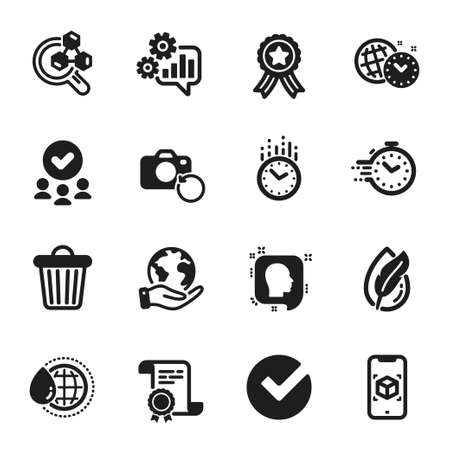 Set of Science icons, such as Verify, Augmented reality. Certificate, approved group, save planet. Time management, Timer, Head. World water, Hypoallergenic tested, Cogwheel. Vector 일러스트