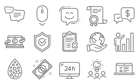 Set of Technology icons, such as Text message, Artificial colors. Diploma, ideas, save planet. 24h service, Approved shield, Web lectures. Reject checklist, Scroll down, Smile face. Vector Vectores