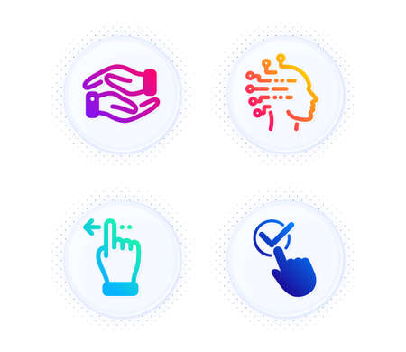Helping hand, Artificial intelligence and Touchscreen gesture icons simple set. Button with halftone dots. Checkbox sign. Charity palm, Mind intellect, Slide left. Approved. People set. Vector