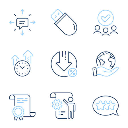 Stars, Sms and Settings blueprint line icons set. Diploma certificate, save planet, group of people. Usb stick, Time management and Loan percent signs. Vector