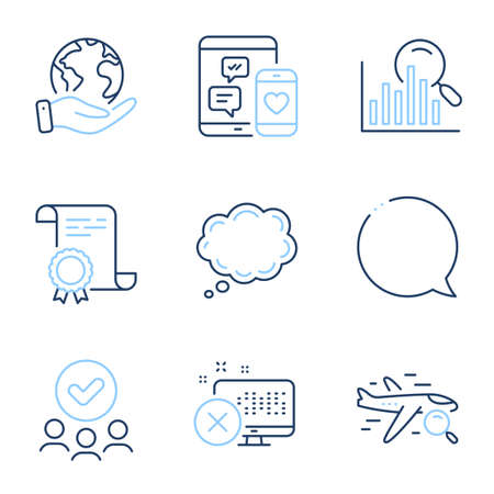 Comic message, Social media and Search line icons set. Diploma certificate, save planet, group of people. Reject access, Search flight and Speech bubble signs. Vector