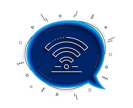 Wifi line icon. Chat bubble with shadow. Wireless internet sign. Hotel service symbol. Thin line wifi icon. Vector