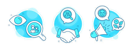 Search employees, Teamwork and Face detect line icons set. Handshake deal, research and promotion complex icons. Leaves sign. Staff analysis, Man with woman, Select target. Grow plant. Vector