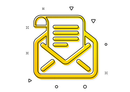 Read Message correspondence sign. Mail newsletter icon. E-mail symbol. Yellow circles pattern. Classic mail newsletter icon. Geometric elements. Vector
