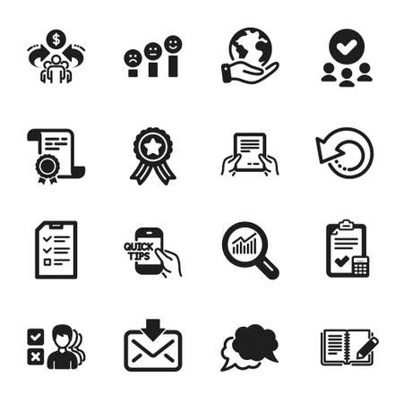 Set of Education icons, such as Sharing economy, Recovery data. Certificate, approved group, save planet. Data analysis, Chat message, Education. Incoming mail, Accounting checklist, Feedback. Vector